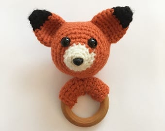 Fox baby teether, crochet, wooden ring