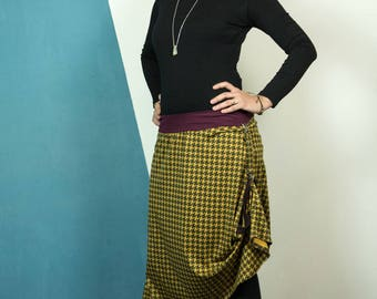 transformable. asymmetrical ... knit ... trousers ... mamumble ... houndstooth ... handmade ... convertible clothing. woman asim