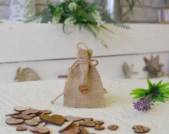 Burlap Gift Bag, Rustic Favor Bags, Candy Buffet Bags, Burlap, Rustic Wedding Favor Bags, Wooden Hearts Love