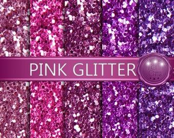 Glitter Digital Paper 2 / Glitter pink, magenta, lilac, and purple / Digital Paper, Digital Glitter, Glitter Backgrounds / Real Photo