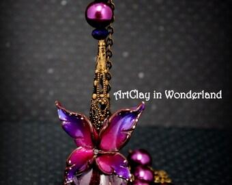 Necklace Purple Fairy Dust rose, butterfly, fairy wings