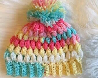 puff stitch baby beanie