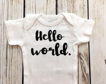 Hello World Newborn Baby Boy Bodysuit