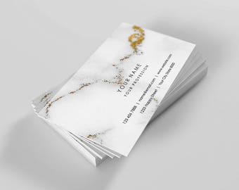 Custom printable business card, Modern Business card template, Business, Digital, Personalized, Marble, Gold, Gray, Minimal, VIP