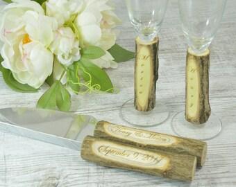 Rustic Wedding Set Toasting Glasses Cake Serving Set Country Wedding Set Flutes Cake Server champagne glasses Cake Knife
