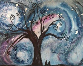 Original Cosmic Dream Tree Watercolor Painting