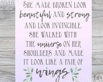 Wings, encouragement printable, printable art, downloadable print, affordable gift, cancer printable,accomplishment, home decor printable
