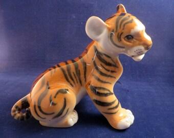 Vintage Russian USSR  Lomonosov  Hand Painted Large 12cm Tiger Cub