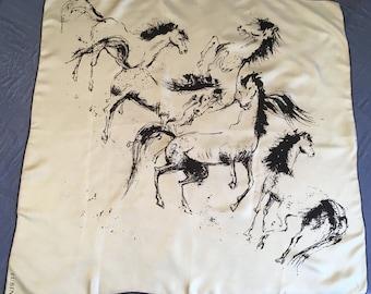 Silk Scarf with Equestrian Horse Print