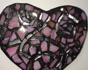 Mosaic 'Pink Passion' Heart  Wall Art