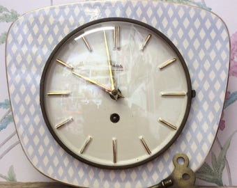 1950s Ceramic Clock Made in Germany by Wehrle