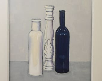Still life painting in white wooden frame