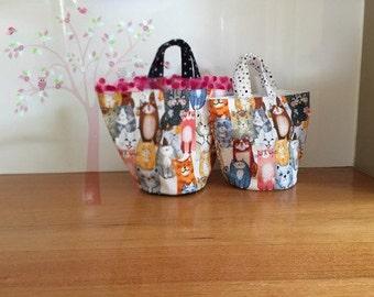 Cat lovers round bucket bag(Medium size)