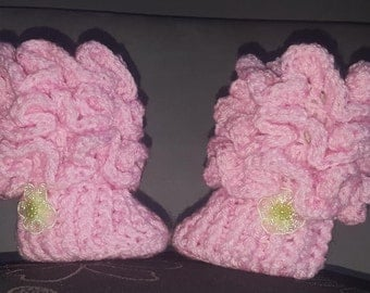 pink booties, extremely soft