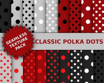 Classic Polka Dots Textures - Red White & Black Polka Dots Digital Paper Set - Seamless Textures- INSTANT DOWNLOAD