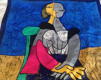 Vintage Picasso Novelty Scarf - 35 Inches x 34 Inches