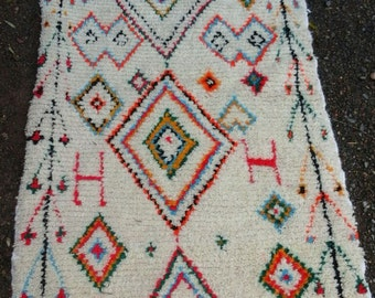 free shipping moroccan azilal wool and cotton rug 150 cm 92 cm