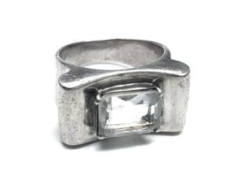 Vintage Sterling Silver and Cut Glass Modernist Ring