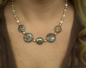 Bronze freshwater pearl necklace
