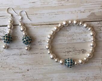 Pearl and Crystal Bridal Set