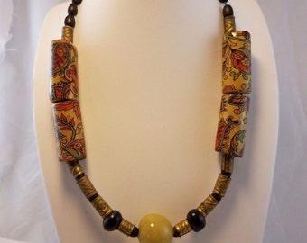 Vintage Art Deco brass bead egg yolk yellow amber necklace