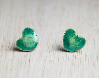 Ceramic stud earrings - little hearts