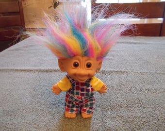 Troll Doll by Bright of America with Rainbow Hair and Earring