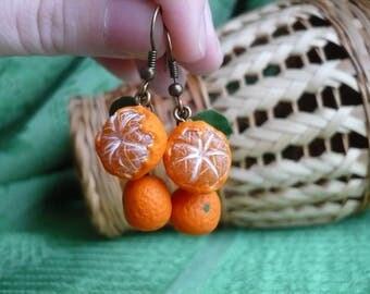 Mandarin earrings, tangerine jewelry, Mandarin jewelry, gift for her, polymer clay, orange earrings, fruit earrings, berry jewelry