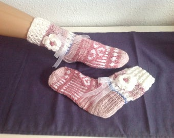 Socks knitted handmade flower Vintagestile