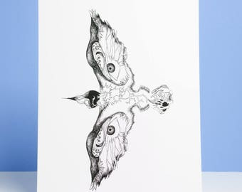 Black and White Bird Illustration + Charity Donation