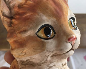 "Ginger Orange Striped Lefton Tabby Kitten Cat Big Shiny Eyes 5"" Figurine with Tag"