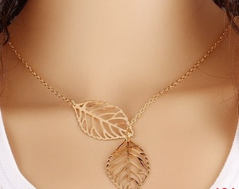 Necklace women trend fashion spring / summer elegant leaves chain links golden metal