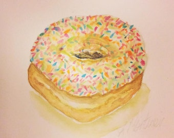 Sprinkles donut, watercolour painting