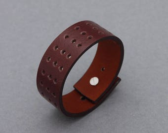 Leather Bracelets Hole Punched Chocolate Brown Cuff Men Women