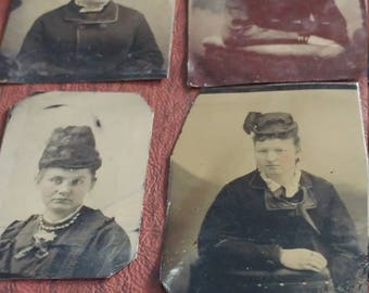 Close Ups With Hats:  Lot of 4 Antique Tintype Photographs of Portraits of Women Wearing Hats
