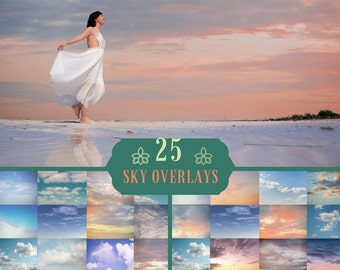 25 Sky Photo Overlays, clouds Photoshop, sunset, blue sky, dramatic sky, sky texture, clouds effect, realistic sky, Photography Overlays