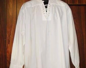 White Medieval/Gothic/Pirate Shirt size L, 100% Cotton, Fancy Dress