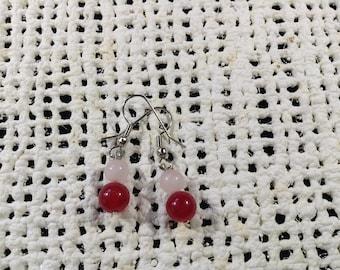 Red and rose quartz earrings