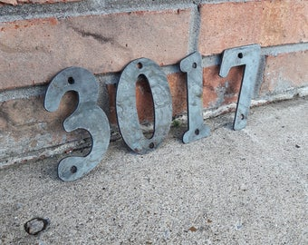 Raw Metal House Number
