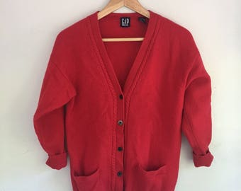 Vintage Red Gap Lambswool Cardigan | Size S | Women's Vintage Clothing