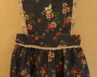 Blue Floral Vintage Pinafore Dress