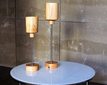 Lamp from table COPS. Lamp in wood for table. Modern wood lamp. Wooden lamp Led