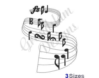 Music Notes & Staff - Machine Embroidery Design