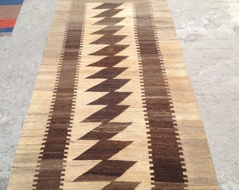 ARTICLE # 6024 Special High Quality Stripped Hand Made Wool Kilim Rug 237 x 107 CM ( 7.7 x 3.5 Feet)