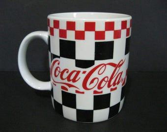 Coca Cola Checkered Mug, Coke Coffee Mug, Vintage Coca Cola Diner Mug