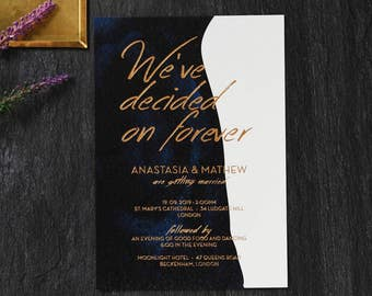 Navy & White Forever Wedding Invitation, Rich Foil Stamping - IWF16116-TR-MG