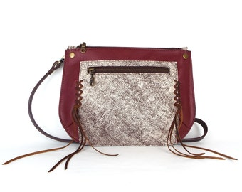 Shell Crossbody Bag Burgundy and Rustic Cream with Fringe