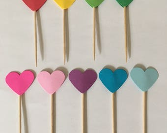 1 inch heart cupcake toppers