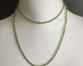 Peridot necklace; knotted; double strand; green; gift for her