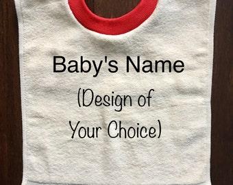 Personalized Ecru Baby Bib with Red Trim